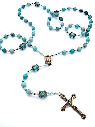Bronze rosary turquoise jasper